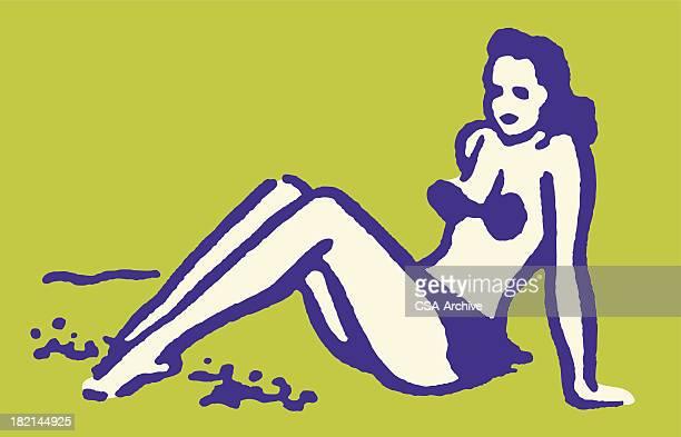 woman in bikini sitting on beach - swimwear stock illustrations, clip art, cartoons, & icons