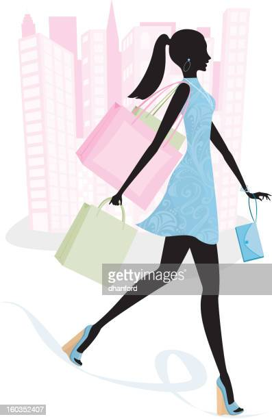 Woman in City on Spending Spree Silhouette