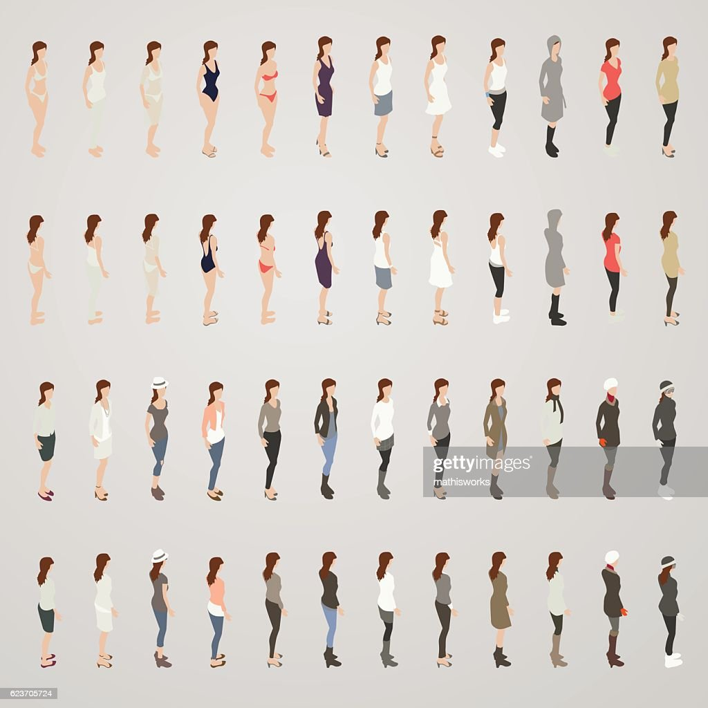 Woman in Different Outfits : Vector Art