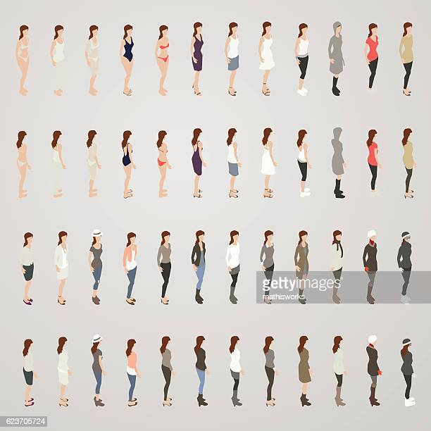 woman in different outfits - underwear stock illustrations, clip art, cartoons, & icons