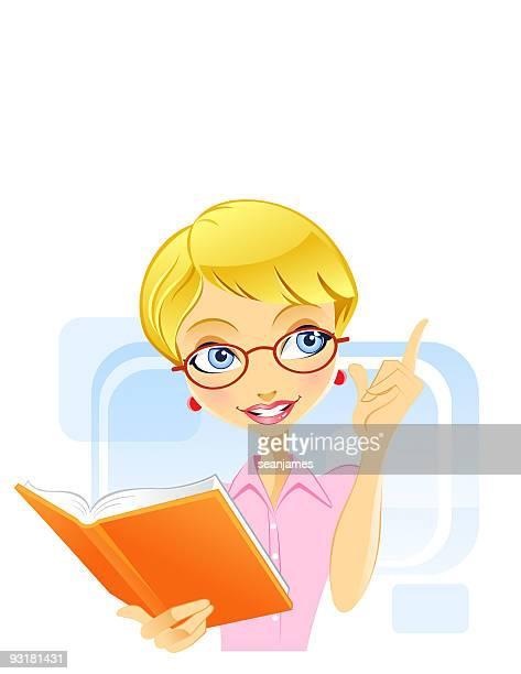 眼鏡女性の読書 - clip art点のイラスト素材/クリップアート素材/マンガ素材/アイコン素材