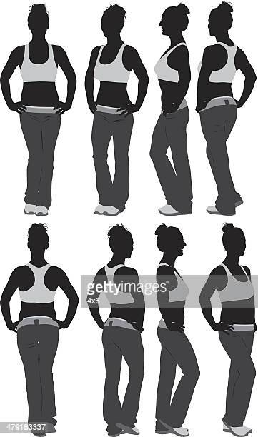 woman in fitness activewear - updo stock illustrations, clip art, cartoons, & icons