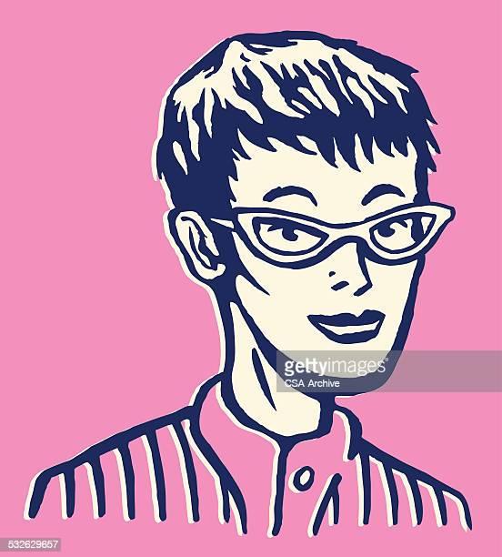 Frau in Brille