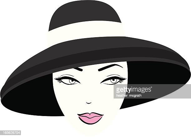 woman in hat - hat stock illustrations