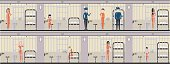 Woman in jail in orange uniform illustration set.