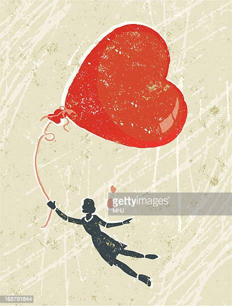 woman in love floating on air with a heart balloon - love at first sight stock illustrations