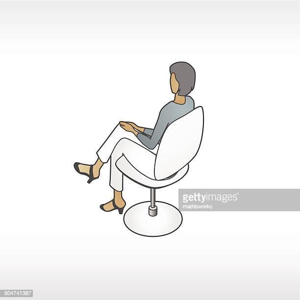 ilustrações de stock, clip art, desenhos animados e ícones de mulher na cadeira moderna ilustração - mathisworks