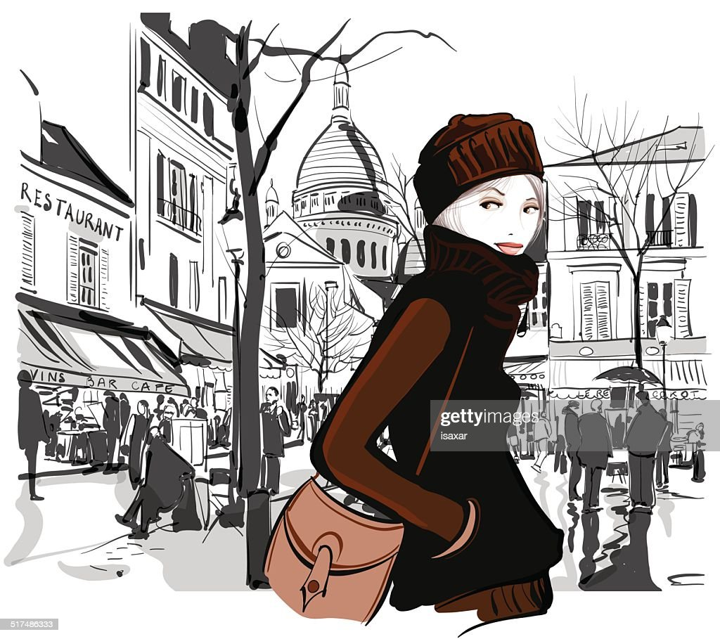 Woman in Montmartre square