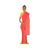 Woman In National Costume Wearing Red Sari, Famous Traditional Touristic Symbol Of Indian Culture