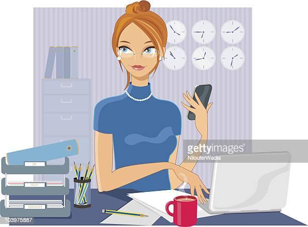 frau im büro - attraktive frau stock-grafiken, -clipart, -cartoons und -symbole