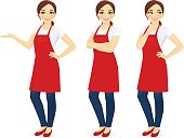 Woman in red apron