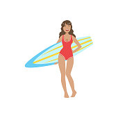 Woman In Red One-piece Swimsuit Pasing With Surfboard