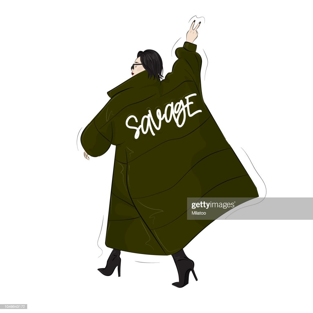 Woman in savage green  oversize blanket coat. Casual street style look. Modern glamour autumn outfit. Magazine cover drawing. Swag runaway  poster