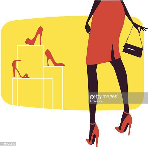woman in shoe store - stiletto stock illustrations