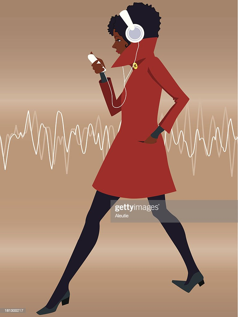 Woman in the earphones listening to music