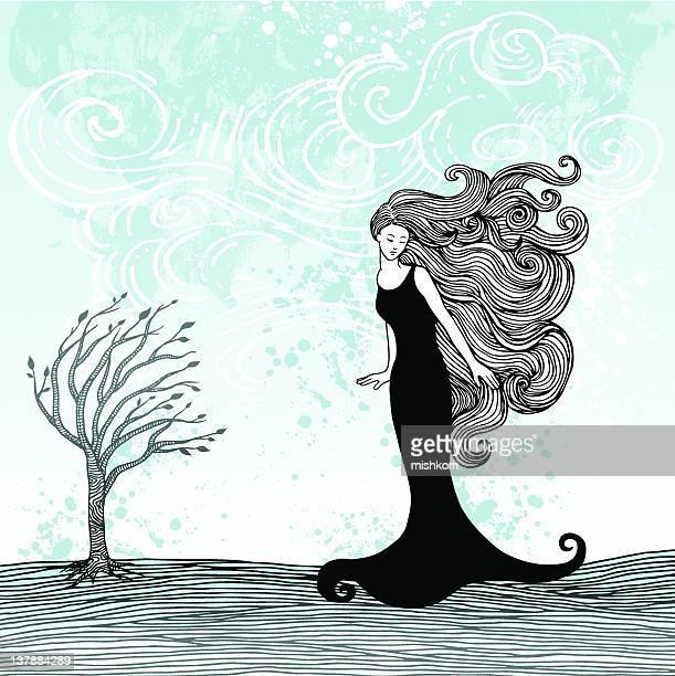 ilustraciones, imágenes clip art, dibujos animados e iconos de stock de mujer en el viento - largo longitud