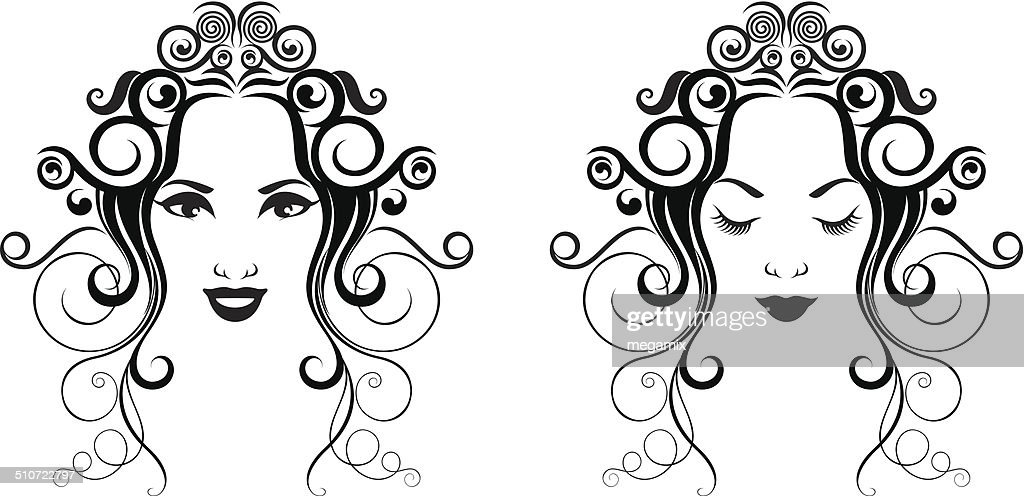 Woman in two versions. : stock illustration
