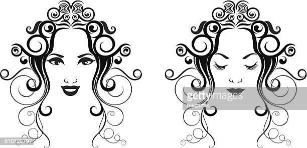 woman in two versions. - eyes closed stock illustrations, clip art, cartoons, & icons