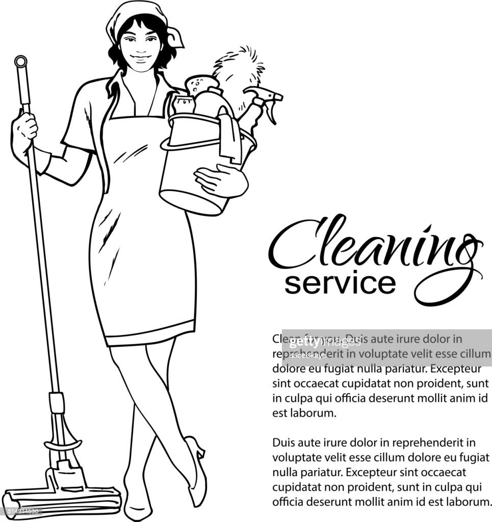 Woman in uniform. Cleaning services