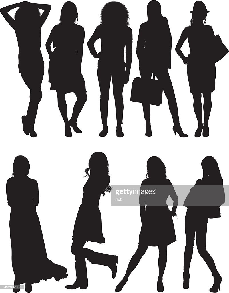 Woman in various actions : stock illustration