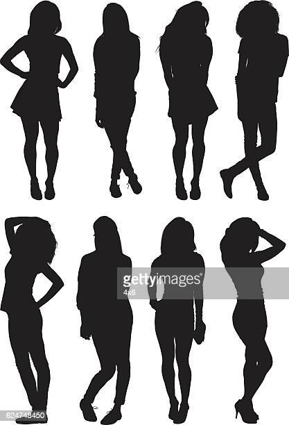 woman in various actions - hand on hip stock illustrations, clip art, cartoons, & icons