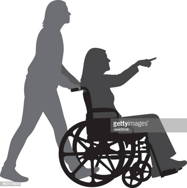 woman in wheelchair pointing silhouette - wheelchair stock illustrations, clip art, cartoons, & icons