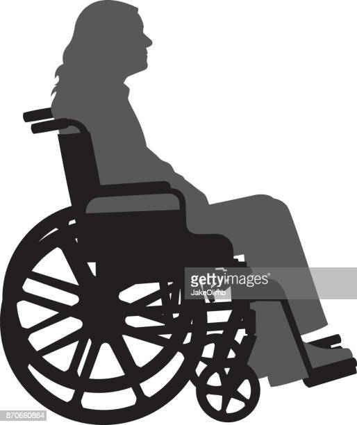 woman in wheelchair - wheelchair stock illustrations, clip art, cartoons, & icons