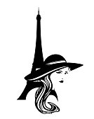 woman in wide hat with eiffel tower vector outline design