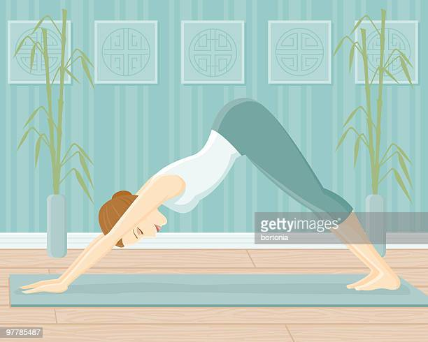 woman in yoga pose-downward facing dog pose - only women stock illustrations