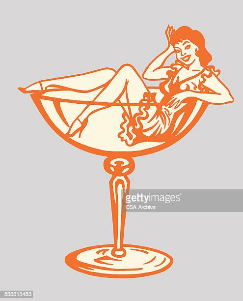 woman inside cocktail glass - stag night stock illustrations, clip art, cartoons, & icons