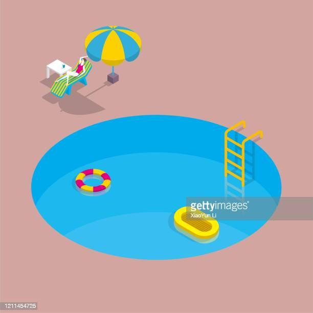 eine frau ruht am rundum schwimmenden schwimmbad. - schwimmbecken stock-grafiken, -clipart, -cartoons und -symbole
