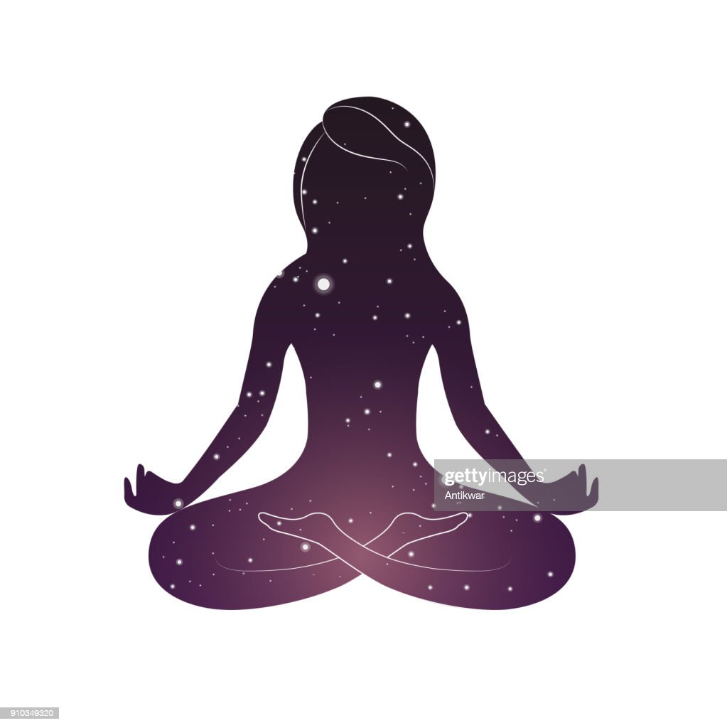 Woman is sitting in lotus posture