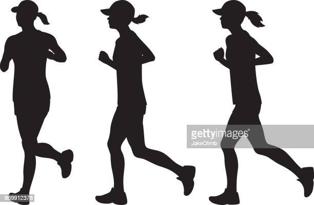 woman jogging silhouettes - cardiovascular exercise stock illustrations, clip art, cartoons, & icons