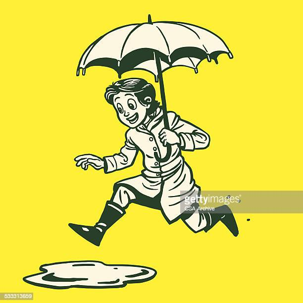 woman jumping in puddle - puddle stock illustrations, clip art, cartoons, & icons