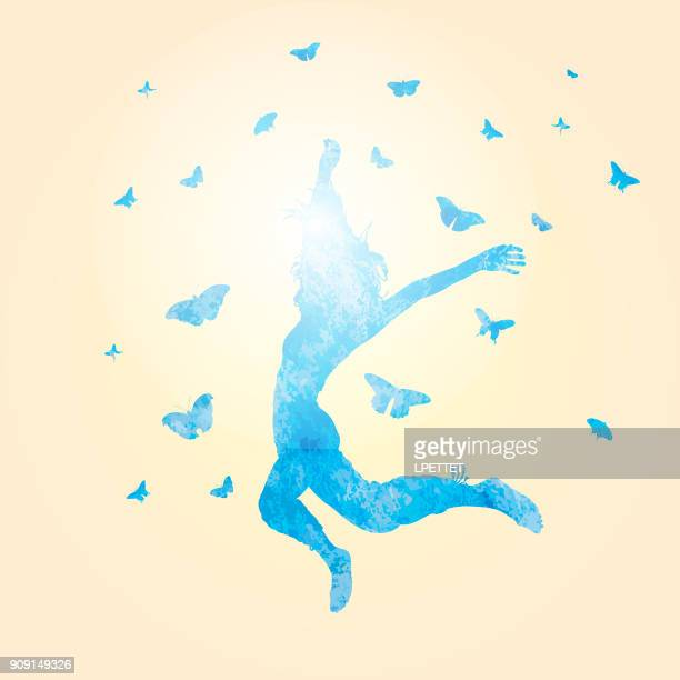 woman jumping watercolor - freedom stock illustrations