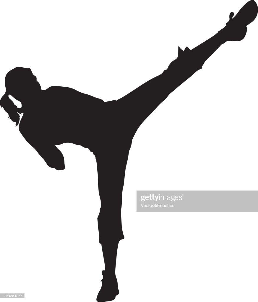 Woman Kickboxer Silhouette