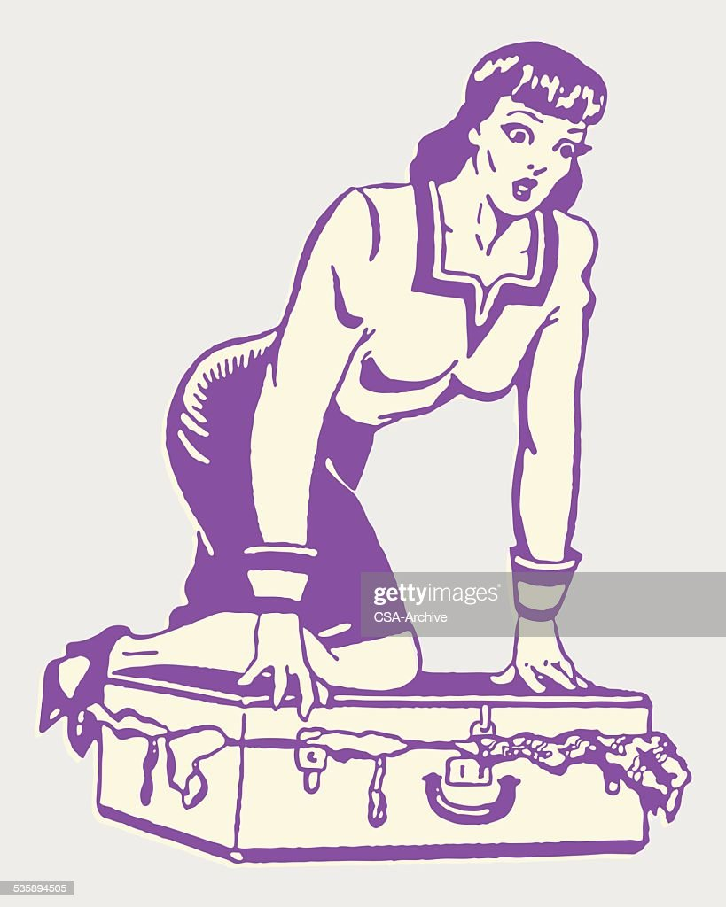 Woman Kneeling on Full Suitcase to Close It : Vector Art