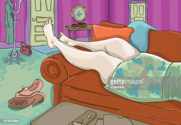 Woman laying on a sofa