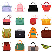 Woman leather casual bags handbag satchel reticule and colorful bag isolated vector illustration