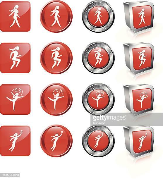 woman leisure activities royalty free vector button set - women's track stock illustrations, clip art, cartoons, & icons
