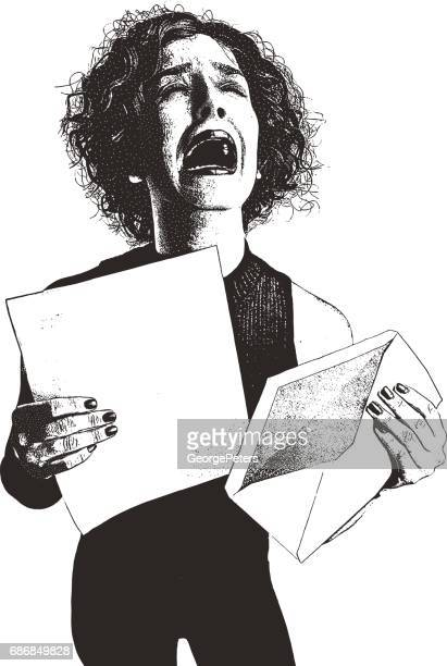 Woman, letter, envelope and bad news