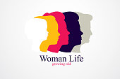Woman life age years concept, the time of life, periods and cycle of life, growing old, maturation and aging, one generation and age categories. Vector simple classic icon