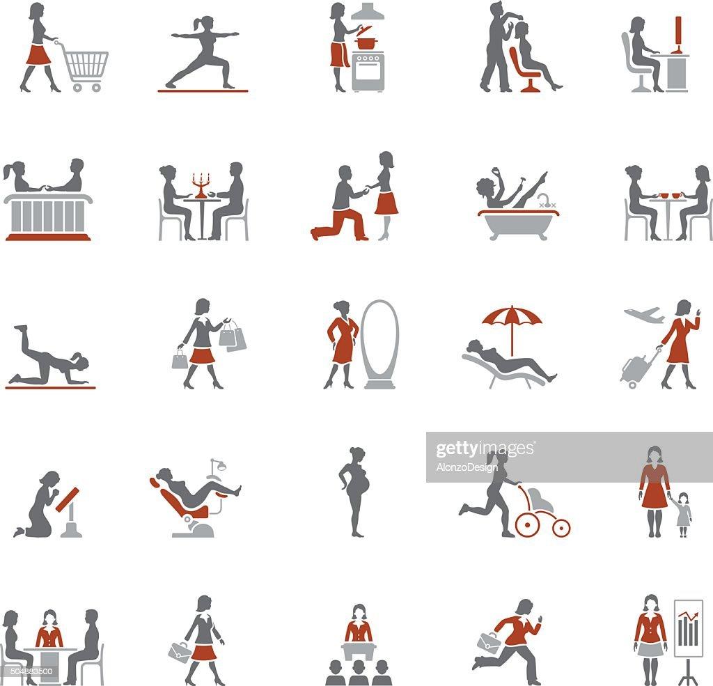 Woman life icons : stock illustration