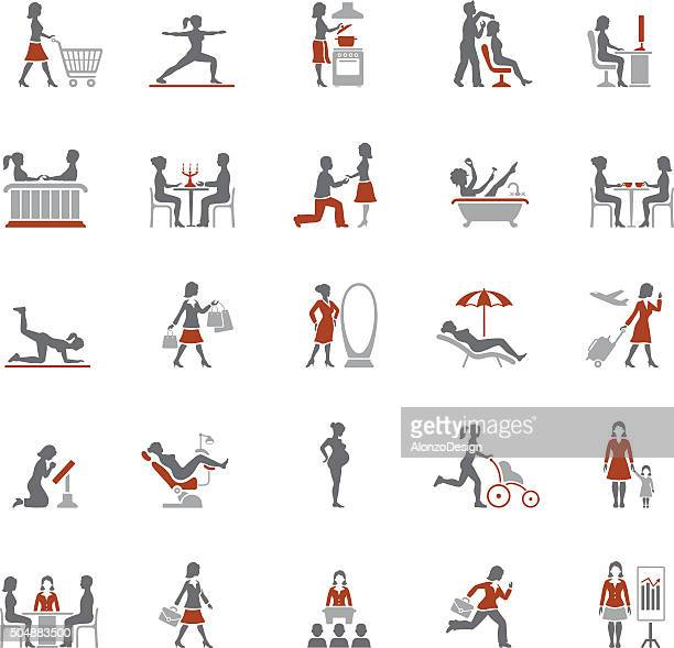 woman life icons - routine stock illustrations