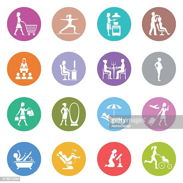 woman life icons - recreational pursuit stock illustrations, clip art, cartoons, & icons