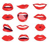 woman lips facial expression vector set