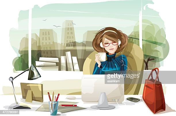 woman listening to music in the office - beautiful woman stock illustrations