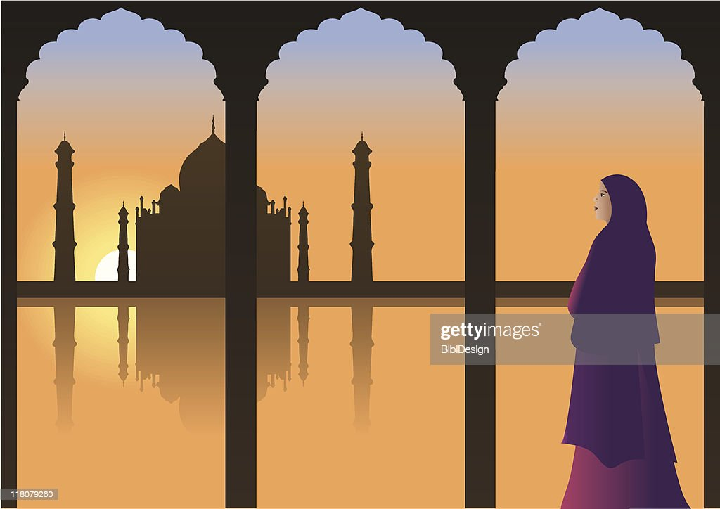 Woman looking at Taj Mahal