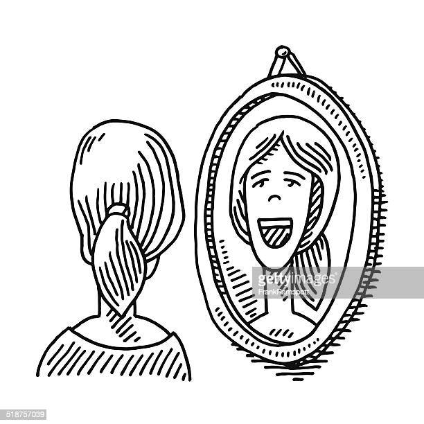 Woman Looking Into Mirror Drawing