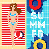 woman lying on the beach towel near swimming pool, top view of pretty girl in bikini, trendy vector illustration